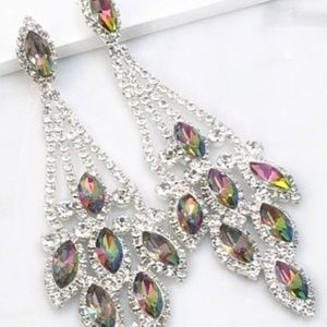 Mystic Topaz Crystal Chandelier Event Earrings